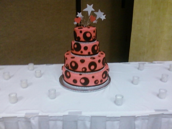 Not an elaborate cake but a fun bling bling wedding cake on Valentine 39s Day