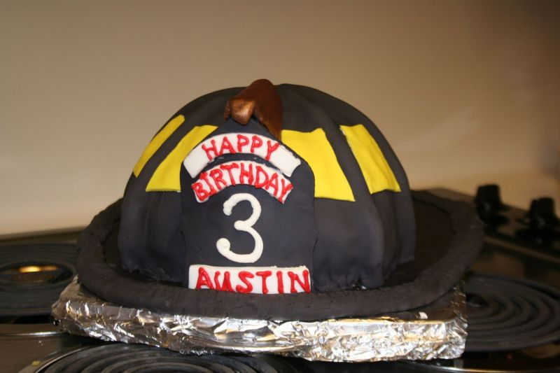 Firefighter helmet cake