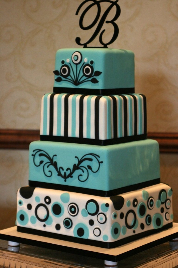Tiffany Blue and Black By karensue The design of this wedding cake was