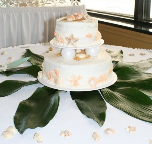 This was made for a coworker 39s beachthemed wedding The cake is frosted in