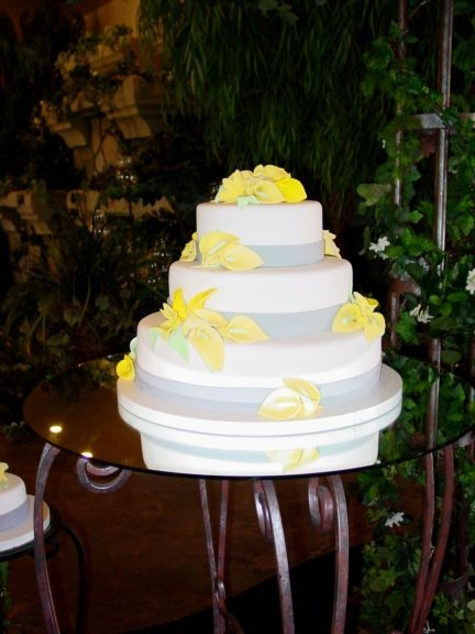 Yellow and Grey 3 tier wedding cake cala lilies By dellboi2u