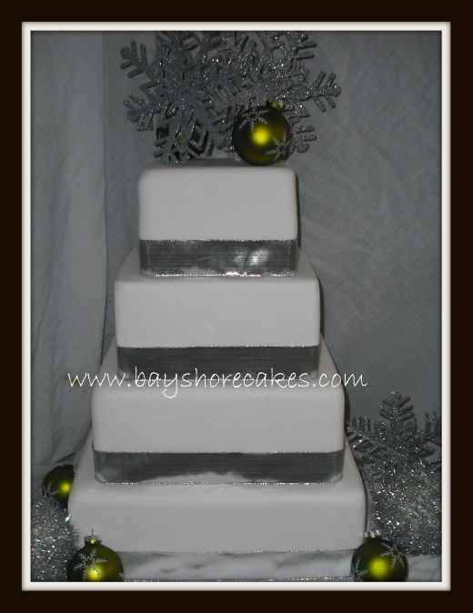 Holiday winter wedding cake Green and Silver By dellboi2u