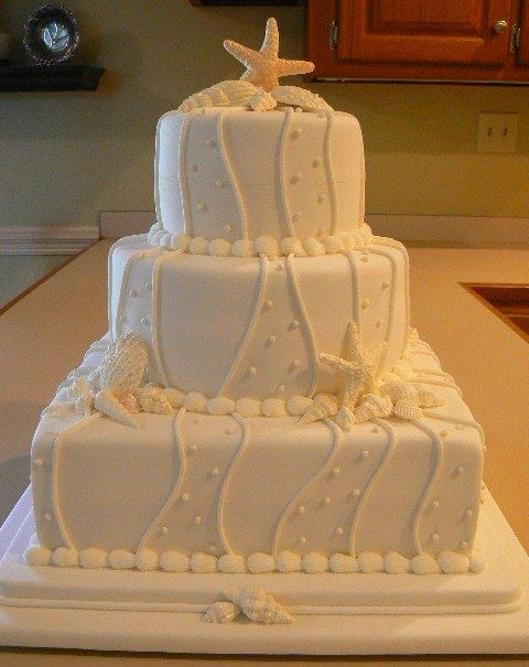 Seashell Wedding Cake By mjs4492 6 9 and 12 amaretto flavored cakes