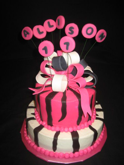 birthday cake pink and black. Hot pink and lack birthday