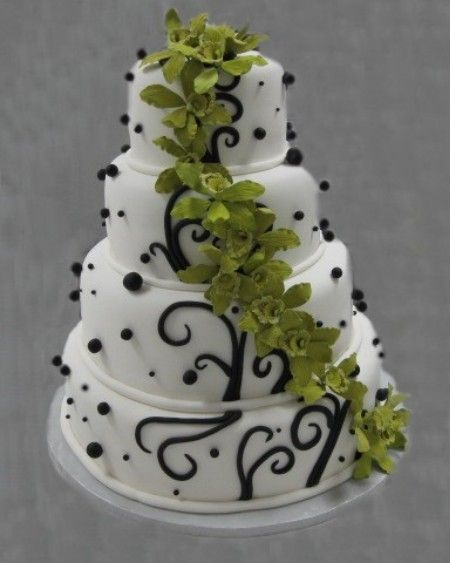 Wedding Excellent Black And White And Green Wedding Cakes