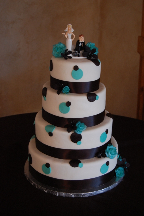 Round MMF Wedding Cake with Teal Black PolkADots By taliha