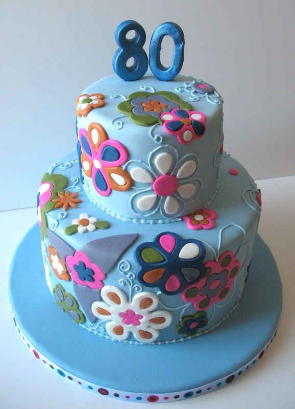 Floral Birthday Cake Decoration 80th