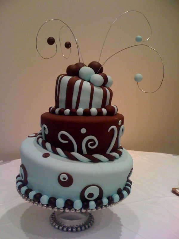 tiffany blue and brown wedding cake By missyssweets