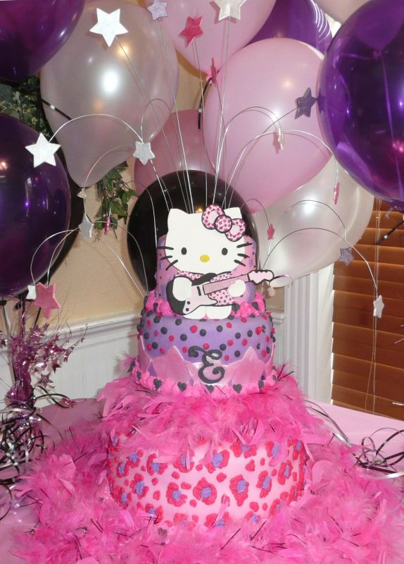 She wanted a Hello Kitty Rockstar cake with pink cheetah spots.
