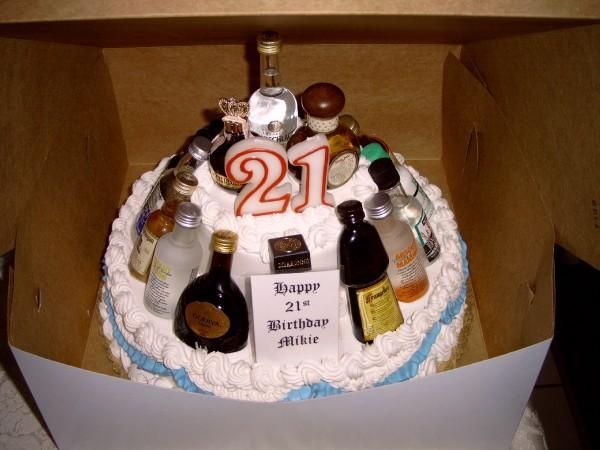 21st birthday cake. Top the cake with 21 candles: A traditional cake can be