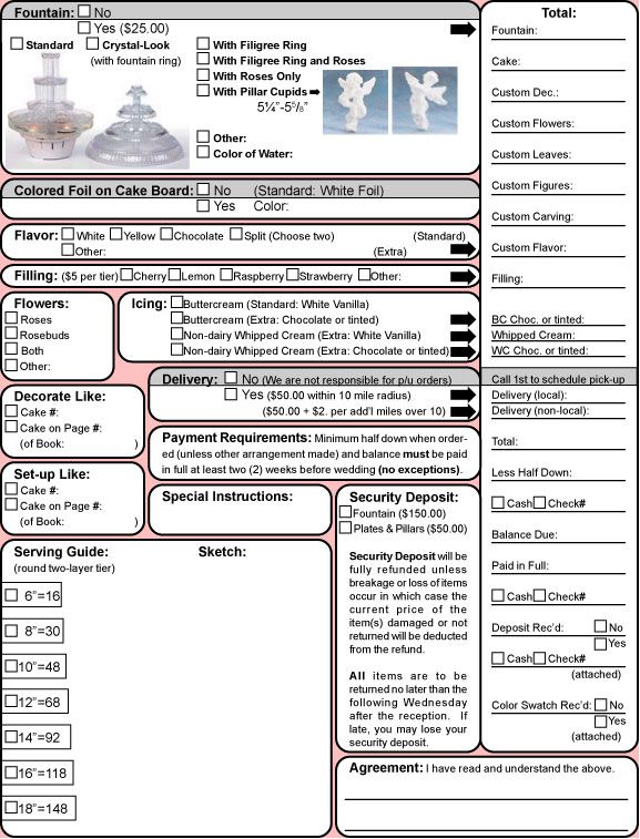 Doc585605 Cake Order Form Template Example Cake Order Form – Cake Order Form Template Example