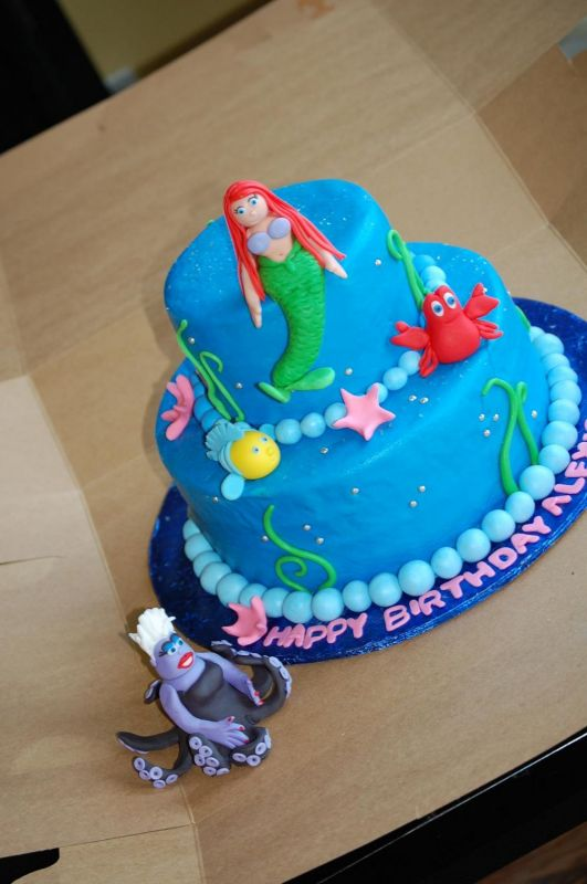 The Little Mermaid Uploaded By: lynsey. The cake is iced in buttercream with