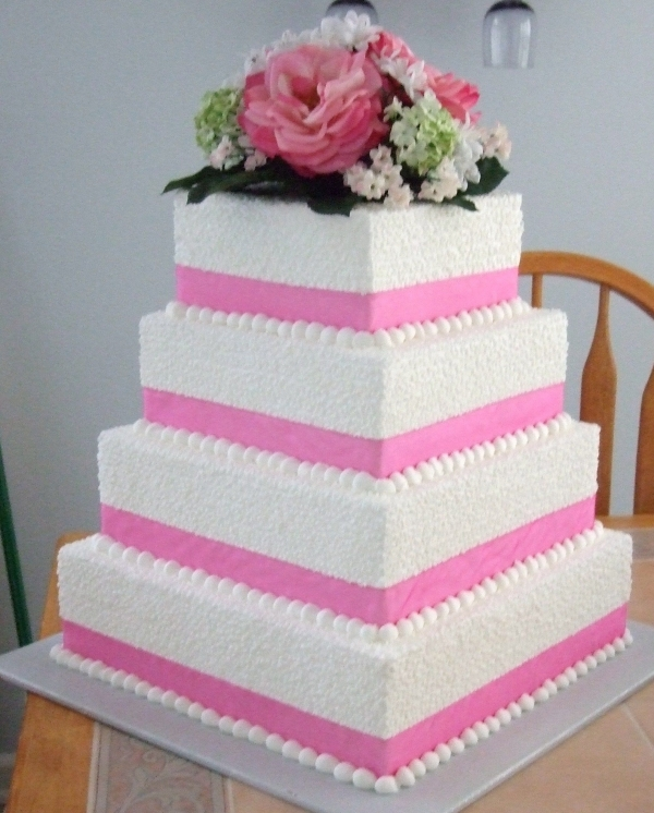 Lace wedding cake By tipsiesmom 4 tiered cake in buttercream with pink