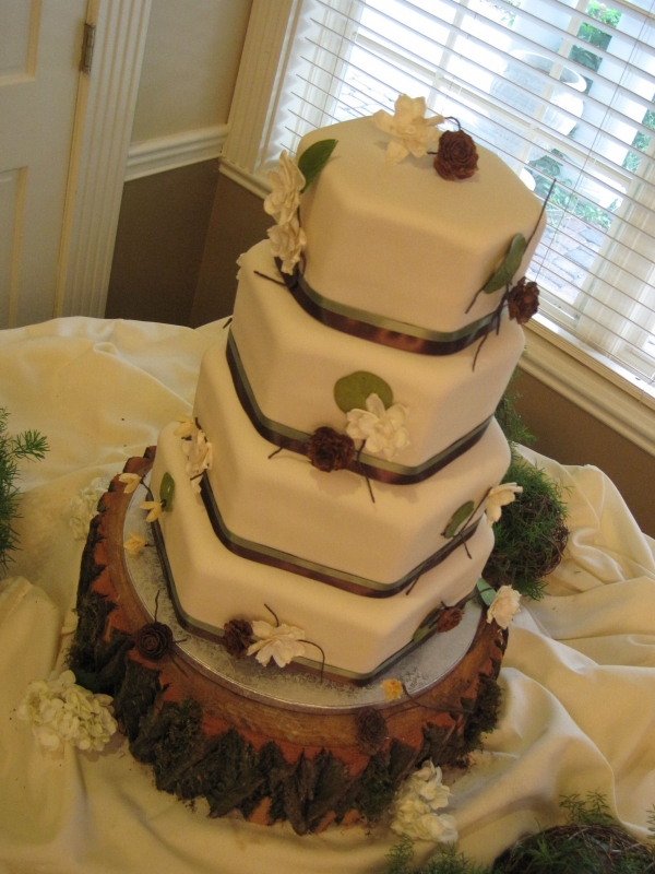 Hexagon Wedding Cake Rustic Theme by Cotillion EVents Wedding Cakes