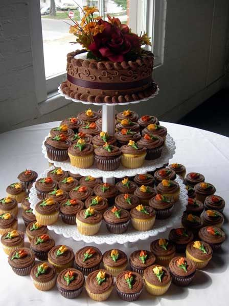 Fall Cupcake Wedding Cakes