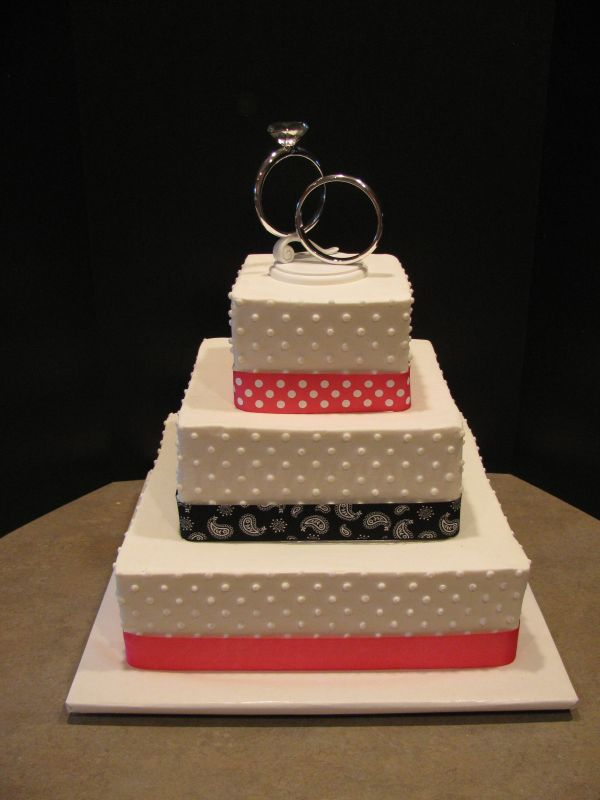 Square Wedding Cakes With Ribbon