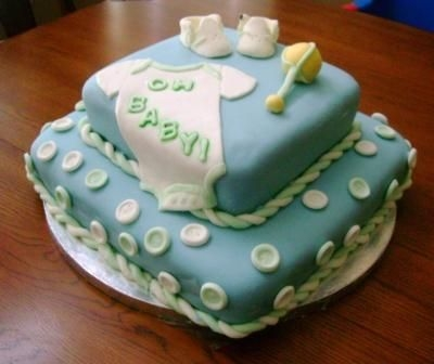 fondant baby boy shower cakes